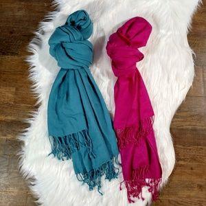 Accessories - 2 Soft Knit Scarf Solid Pink & Blue Fringe Trim